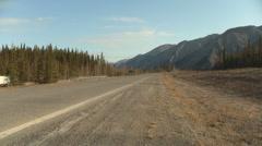 Truck Traffic at Muncho Lake, Alaska Highway, Canada Stock Footage