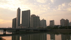 Guangzhou Pearl River Scene at Sunset Stock Footage