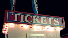 Carnival ticket booth at night - stock footage
