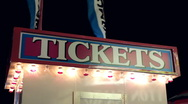 Stock Video Footage of Carnival ticket booth at night