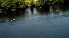 Kayaking and boating on Moscow river Stock Footage