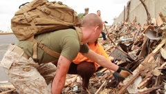 People Working to Pull Rubble Away After Tornado (HD)m Stock Footage
