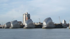 Time Lapse of London's Thames Barrier with boats and ships Stock Footage