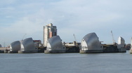 Stock Video Footage of Time Lapse of London's Thames Barrier with boats and ships