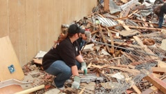 People Start Clean-up After Tornado (HD) c Stock Footage