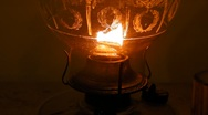 Stock Video Footage of Burning Antique Oil Lamp close-up