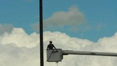 Man On Telephone Repair Truck Stock Footage