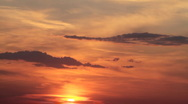 Red cloudy sunrise. Timelapse. Stock Footage