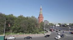 Traffic under the Kremlin walls Stock Footage