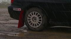 Motorsports, rally car in snow, launch zoom reveal follow, #8 Subaru WRX Stock Footage