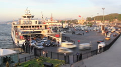 Ferry boat and cars in port - stock footage