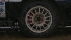 Motorsports, rally car in snow, launch  reveal follow, #9 Subaru Impreza WRX STI Stock Footage