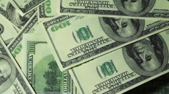 Banknote hundred dollars rotate in two levels Stock Footage
