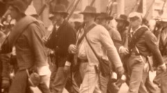 CONFEDERATE REBEL SOLDIERS March American Civil War 1860 Vintage Film Home Movie - stock footage