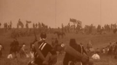 BATTLEFIELD Men Flags Cavalry American Civil War 1864 Vintage Film Home Movie - stock footage