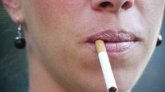 Woman Smoking Stock Footage