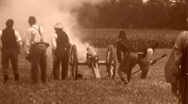 Stock Video Footage of ARTILLERY FIRES! American Civil War Cannon Blast Battle 1864 Vintage Film Movie