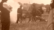 Stock Video Footage of ARTILLERY FIRE American Civil War Battlefield Soldiers 1864 Vintage Film Movie