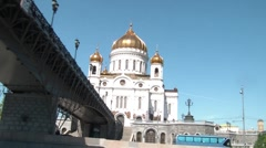 Bridge To The Temple Of Christ The Savior Stock Footage