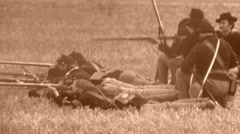 UNION TROOPS INFANTRY Aiming Guns American Civil War 1864 Vintage Film Movie - stock footage
