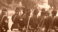 Stock Video Footage of UNION SOLDIERS RELOAD American Civil War Battle Shooting 1864 Vintage Film Movie