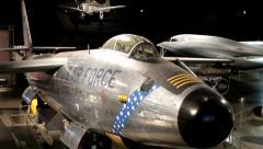 Pan of large hangar full of airforce airplanes Stock Footage