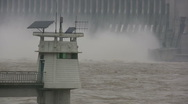 Stock Video Footage of Lighthouse in front of Three Gorges Dam