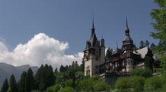 Peles royal castle in Sinaia, Romania. Cloud time lapse. Stock Footage