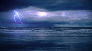 Stock Video Footage of storm on the sea with lightnings
