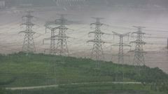 Stock Video Footage of Power lines near Three Gorges Dam in China