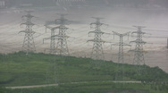Power lines near Three Gorges Dam in China Stock Footage