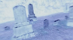 Headstones in a Massachusetts graveyard, slo mo negative film effect Stock Footage