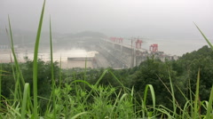 Three Gorges dam behind plants - stock footage