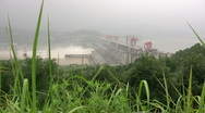Stock Video Footage of Three Gorges dam behind plants