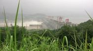 Three Gorges dam behind plants Stock Footage