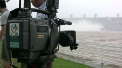 Chinese camera at Three Gorges Dam Stock Footage