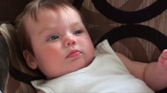 Hiccups baby girl 5 months old Stock Footage