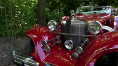 Red Excalibur Classic Car Vintage Stock Footage