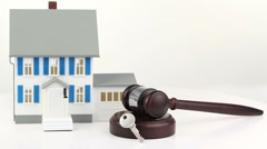 House model with a hammer and a key Stock Footage