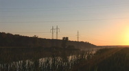 Stock Video Footage of sunset power line 8