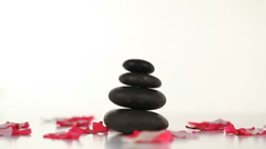 Black stones and petals turning Stock Footage