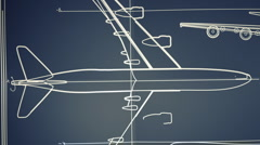 Aircraft Blueprint Smooth Camera Pan and Zoom HD Stock Footage
