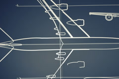 Aircraft Blueprint Smooth Camera Pan and Zoom NTSC Stock Footage