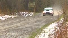 Motorsports, rally car race in snow, #14 Subaru Impreza STI follow shot Stock Footage