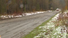 Motorsports, rally car race in snow, #19 Ford Focus ZX3 follow shot Stock Footage