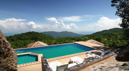 Stock Video Footage of Luxury pool in the mountains