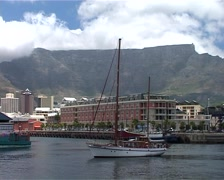 Table Mountain and Sailing Boat from the V&A Waterfront, Cape Town GFSD Stock Footage