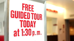Free guided tour today sign Stock Footage