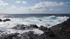 Ocean strom in Garachico, Tenerife - stock footage