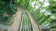 Stock Video Footage of roller coaster in forest (backward)